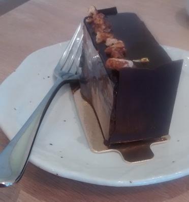 Chocolate and praline cake at café