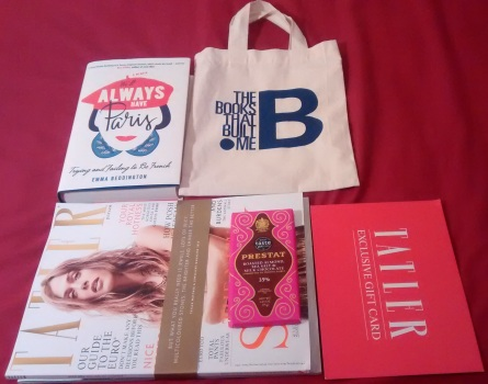 What came in the goodie bag: a copy of Emma's book, Prestat chocolate bar, copy oF Tatler and a Tatler subscription